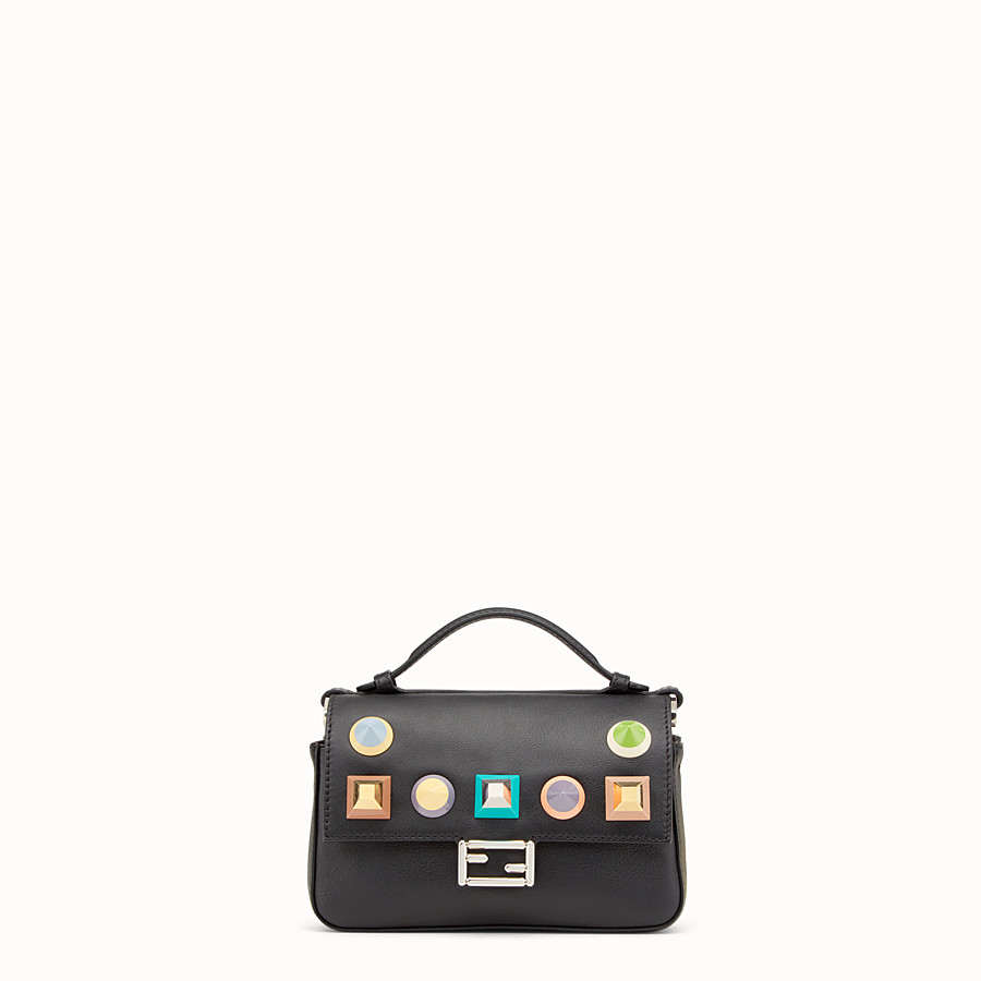 FENDI DOUBLE MICRO BAGUETTE - Microbag in black leather with studs - view 1 detail