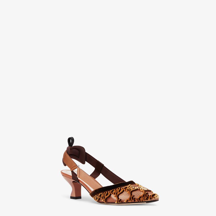 FENDI COLIBRÌ - Brown mesh and embroidery medium-heeled slingbacks - view 2 detail