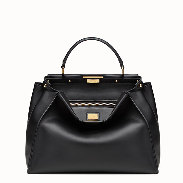 FENDI PEEKABOO LARGE - Black leather handbag - view 1 small thumbnail