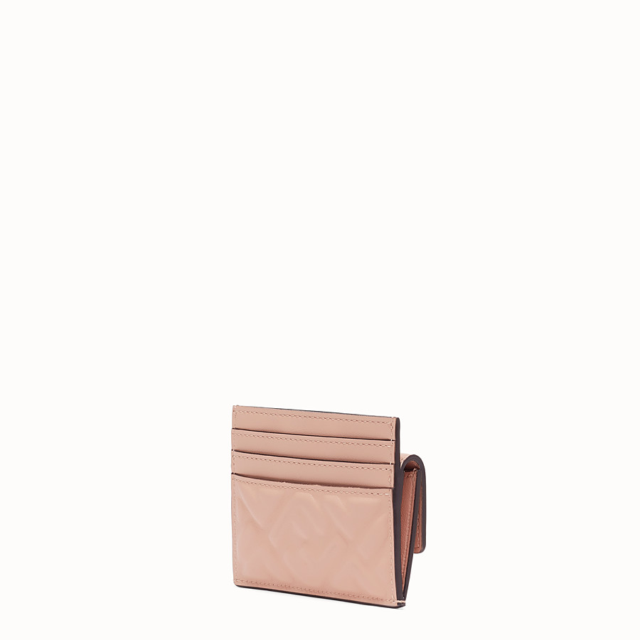 FENDI CARD HOLDER - Pink nappa leather cardholder - view 2 detail