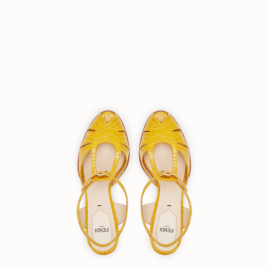 FENDI SANDALS - Yellow leather sandals - view 4 detail