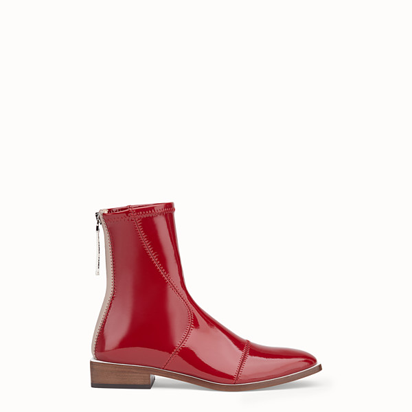 FENDI ANKLE BOOTS - Glossy red neoprene low ankle boots - view 1 small thumbnail