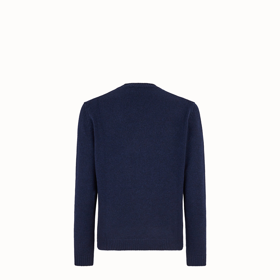 FENDI PULLOVER  - Blue cashmere jumper - view 2 detail