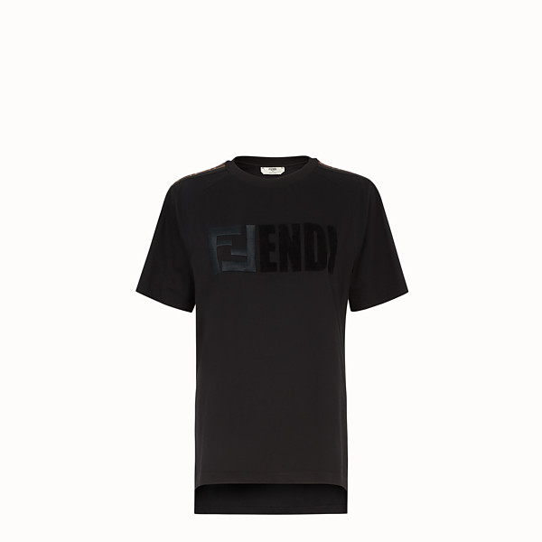 FENDI T-SHIRT - T-shirt in cotone nero - vista 1 thumbnail piccola