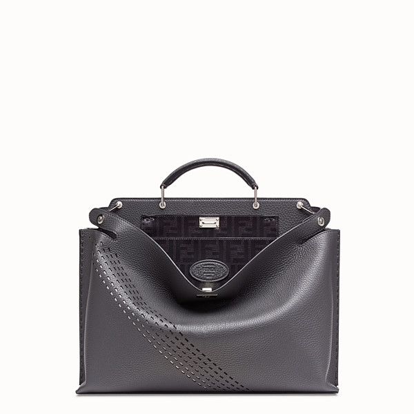 FENDI PEEKABOO ICONIC ESSENTIAL - Grey calf leather bag - view 1 small thumbnail
