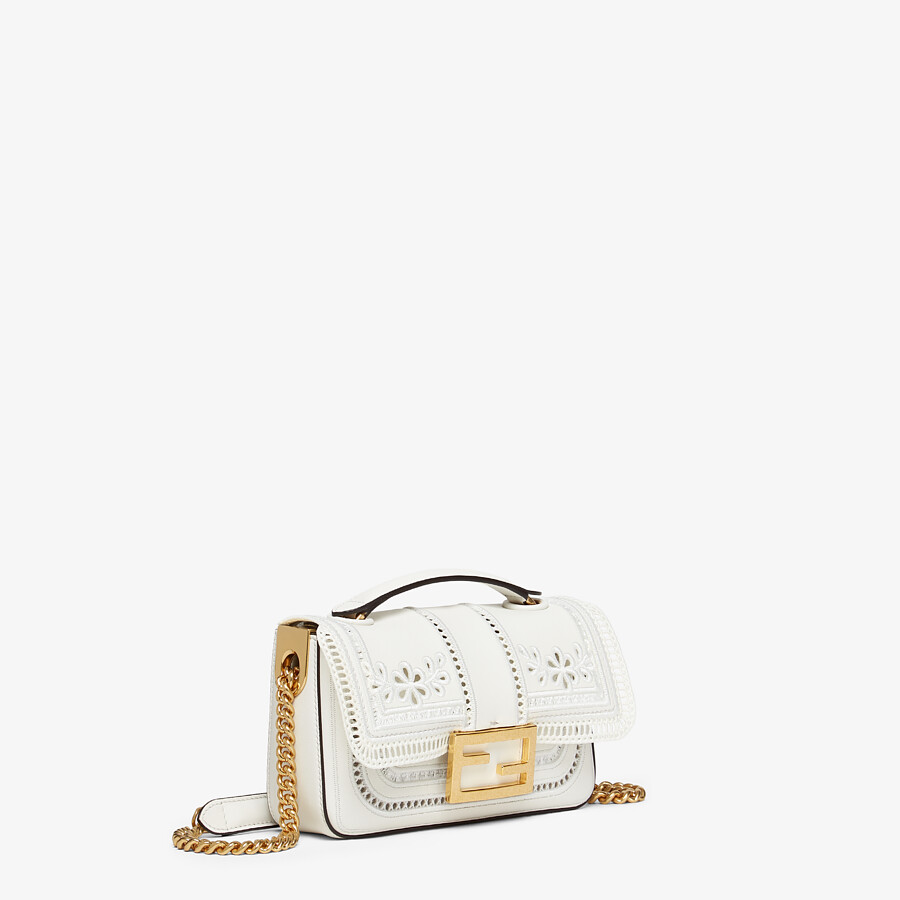 FENDI MINI BAGUETTE CHAIN - Embroidered white leather bag - view 2 detail