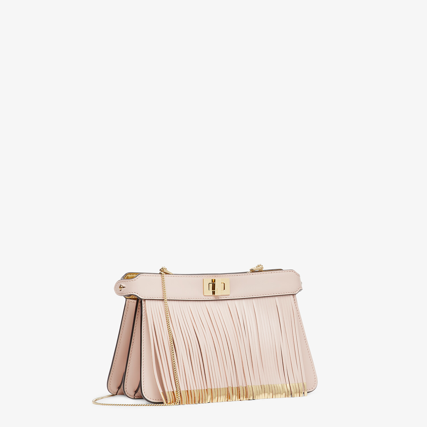 FENDI PEEKABOO I SEE U POCHETTE - Pink leather bag with fringes - view 3 detail