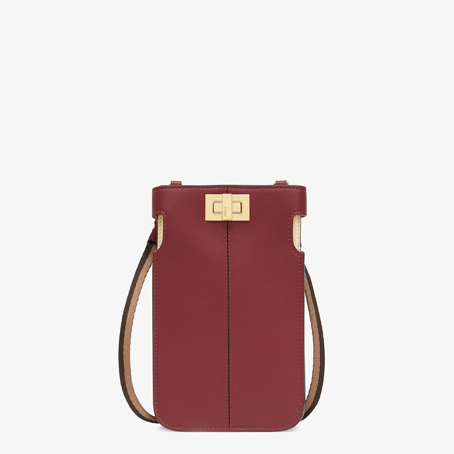 FENDI PEEK-A-PHONE - Burgundy leather pouch - view 1 detail