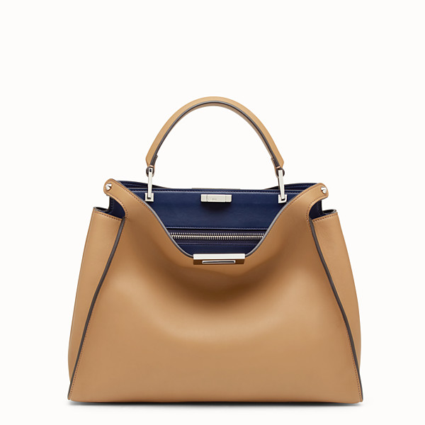FENDI PEEKABOO ESSENTIAL - Sand-colored leather handbag - view 1 small thumbnail