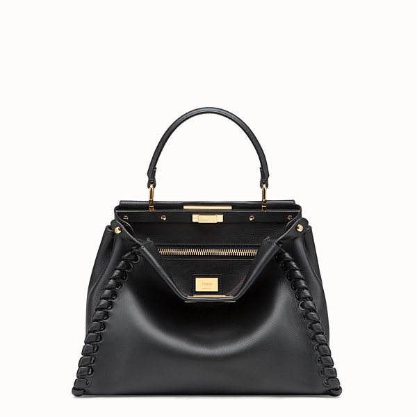 FENDI PEEKABOO ICONIC MEDIUM - Black leather bag - view 1 small thumbnail