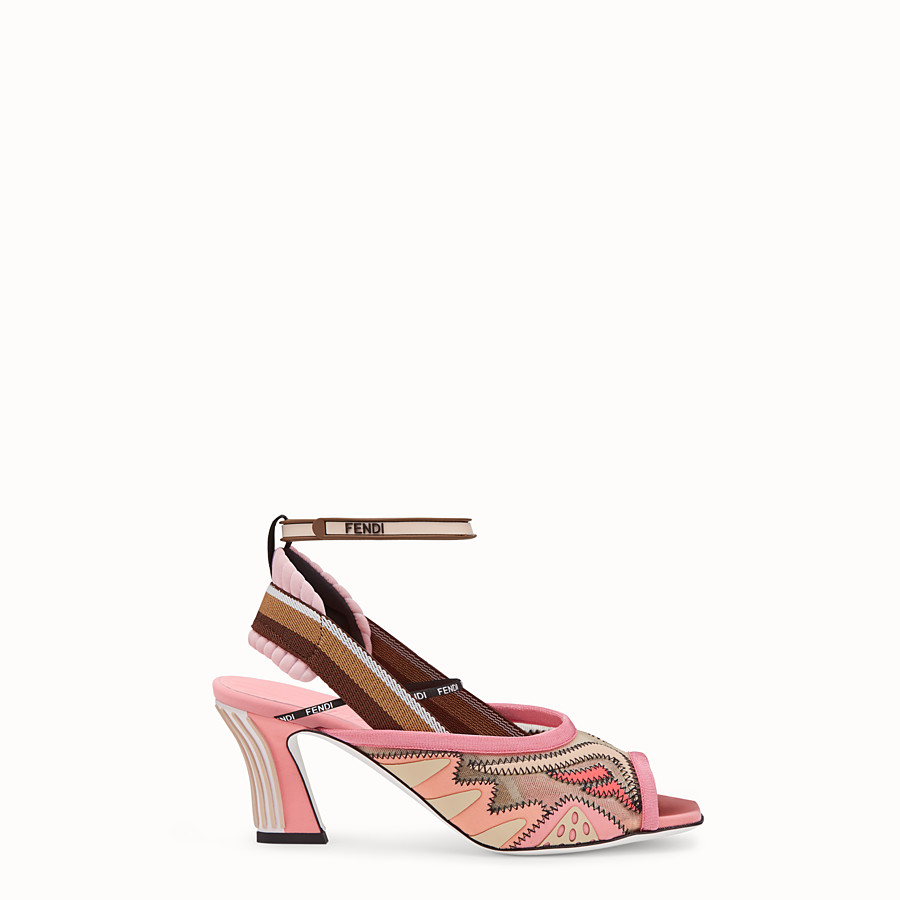 FENDI SANDALS - Pink technical mesh sandals - view 1 detail