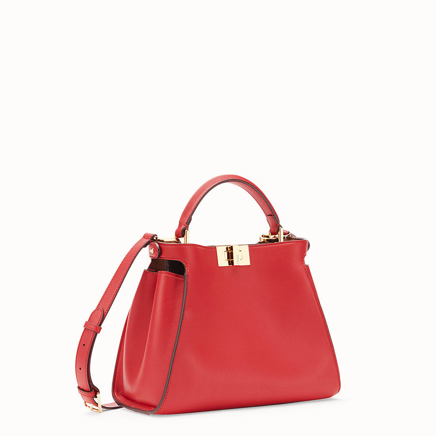 FENDI PEEKABOO ICONIC ESSENTIALLY - Red leather bag - view 3 detail