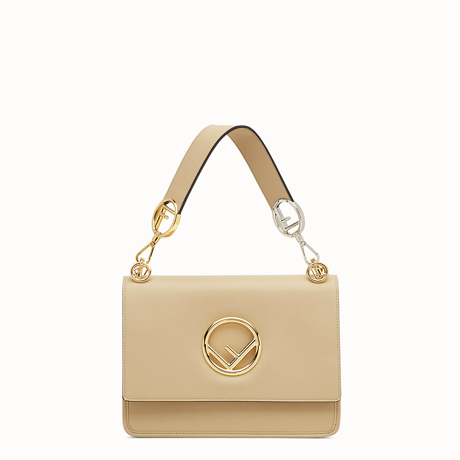 FENDI KAN I LOGO - Beige leather bag - view 1 detail