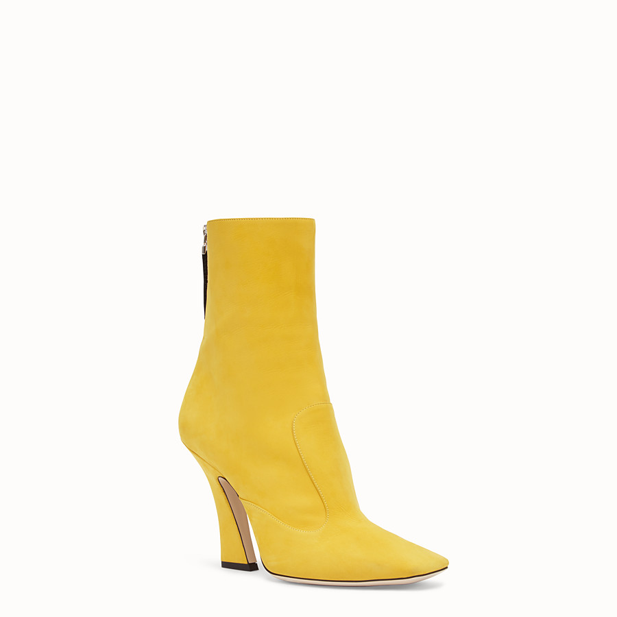 FENDI ANKLE BOOTS - Yellow nubuck booties - view 2 detail