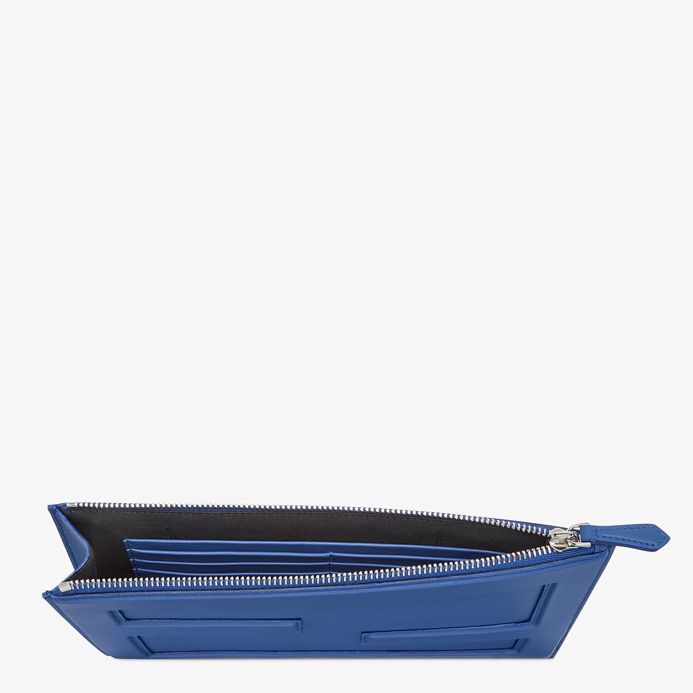 FENDI BAGUETTE BIG POUCH - Blue leather bag - view 3 detail