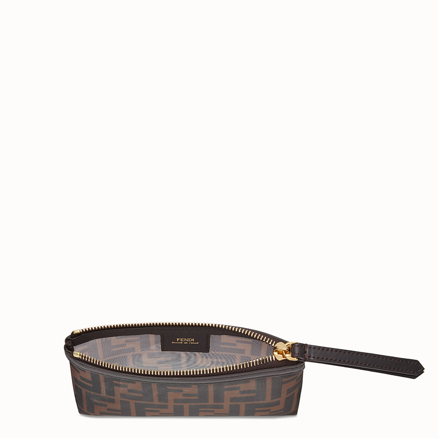 FENDI SMALL FLAT POUCH - Tech mesh brown bag - view 3 detail