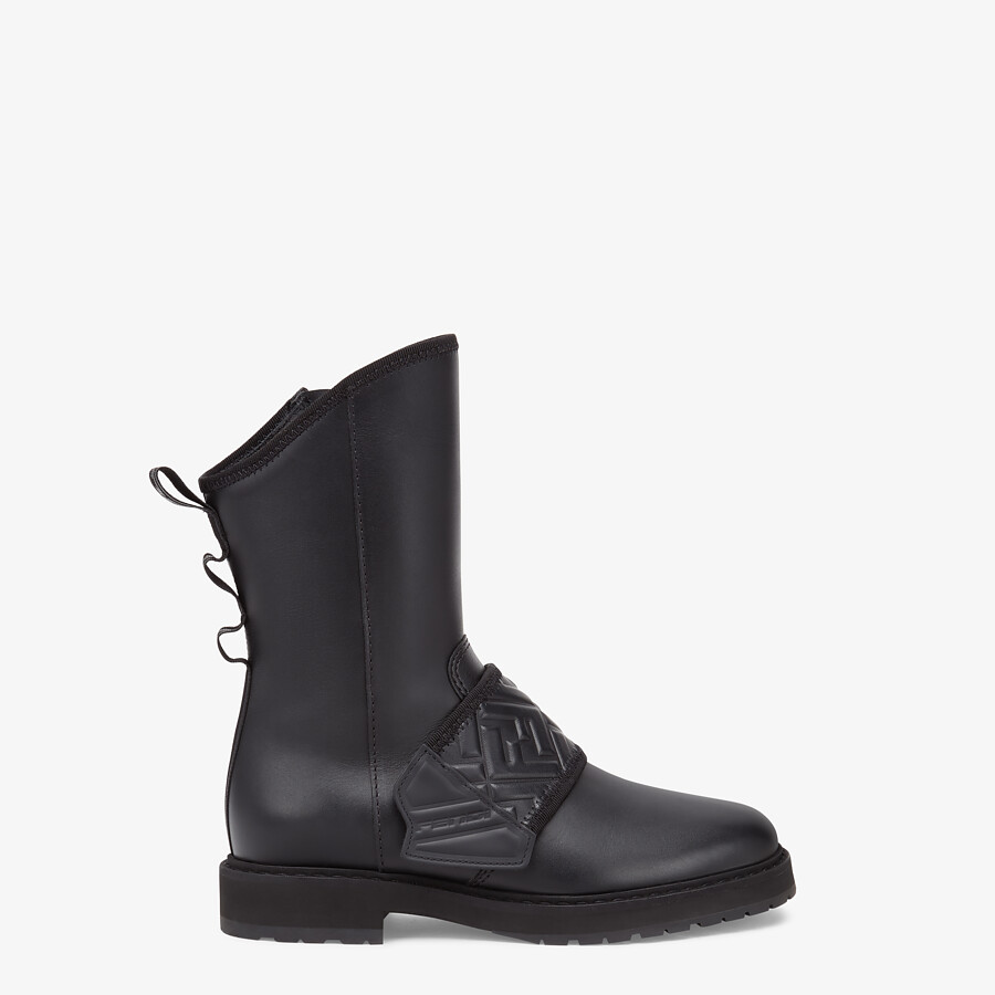 FENDI BIKER BOOTS - Black leather ankle boots - view 1 detail