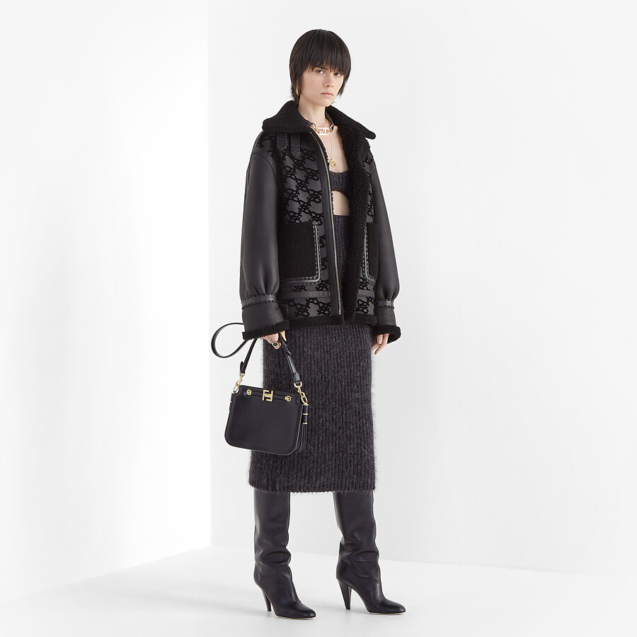 FENDI JACKET - Black shearling jacket - view 4 detail