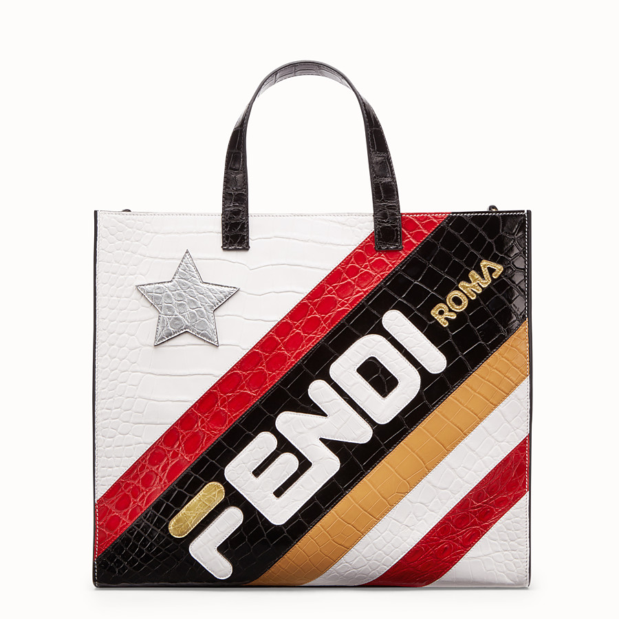 FENDI SHOPPER - Multicolour crocodile leather bag - view 1 detail