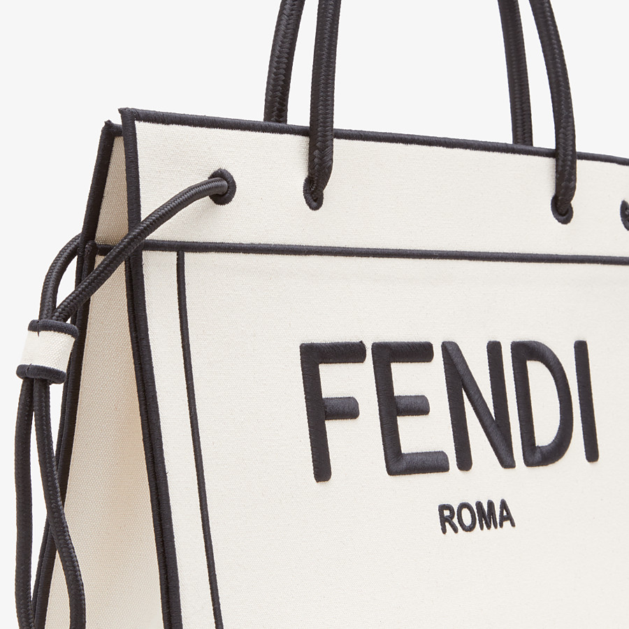 FENDI LARGE FENDI ROMA SHOPPER - Undyed canvas shopper bag - view 6 detail