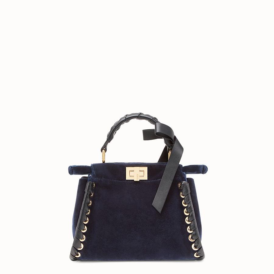 FENDI PEEKABOO MINI - Sac en velours bleu - view 3 detail