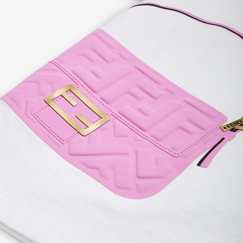 FENDI JUNIOR T-SHIRT - White jersey and pink print junior T-shirt - view 3 detail