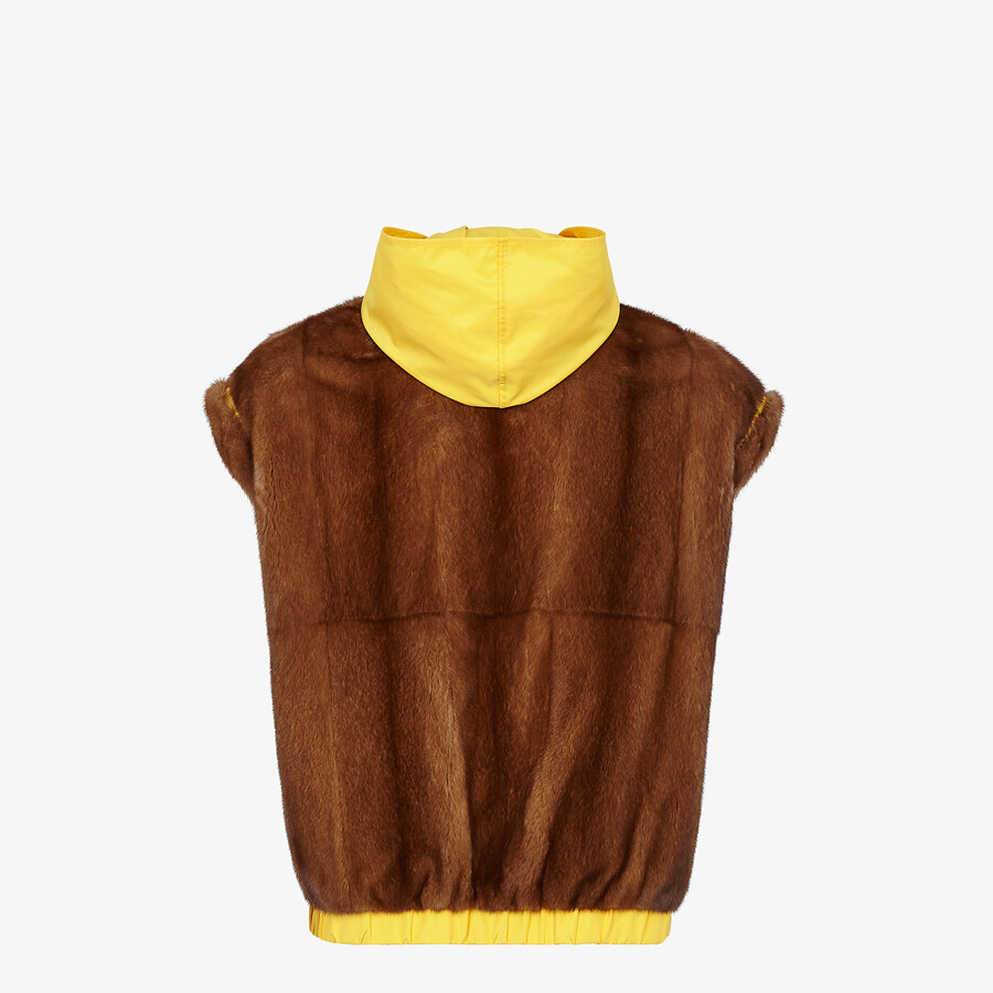 FENDI VEST - Mink and yellow nylon gilet - view 2 detail