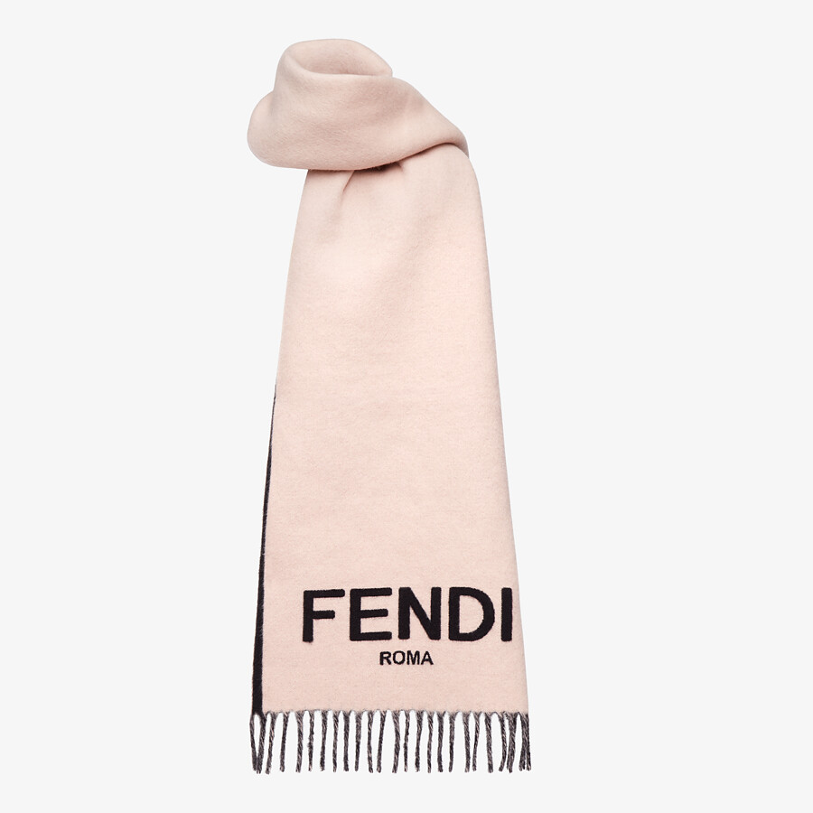 FENDI SCARF - Pink cashmere scarf - view 2 detail