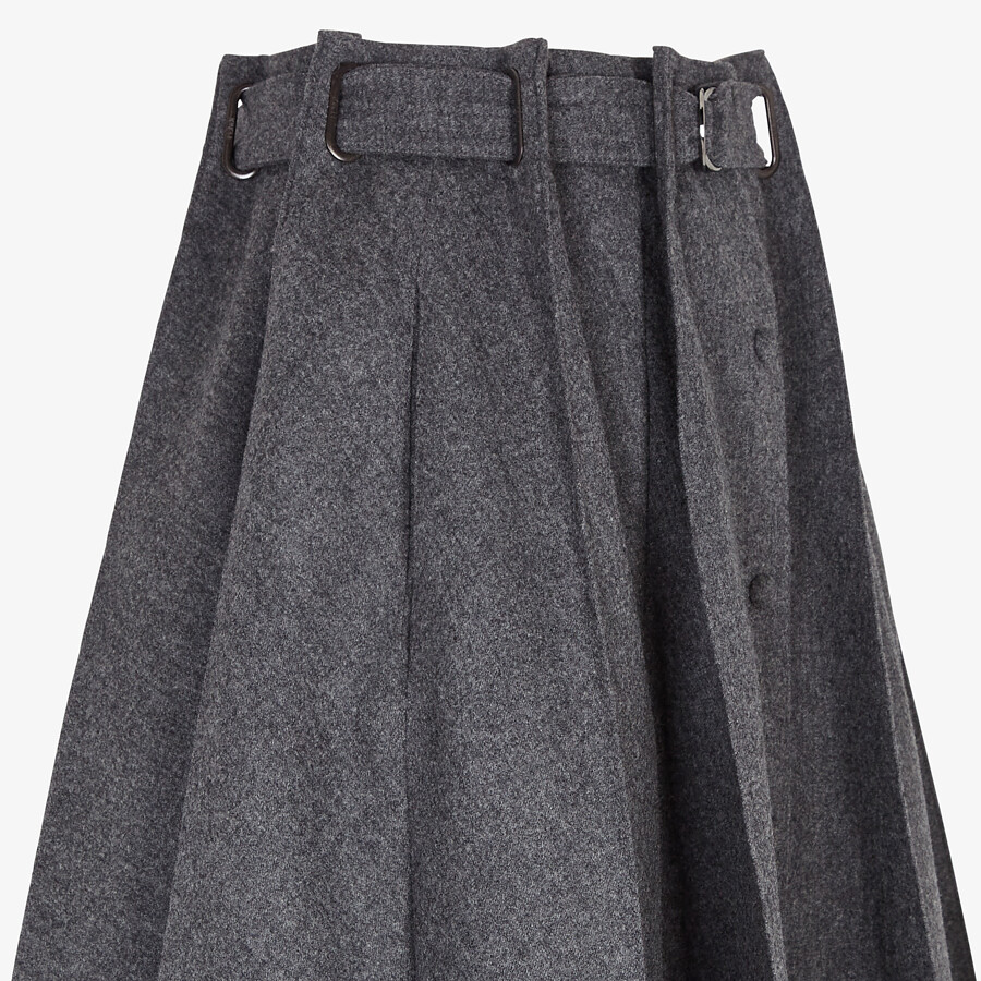 FENDI SKIRT - Gray cashmere and flannel skirt - view 3 detail