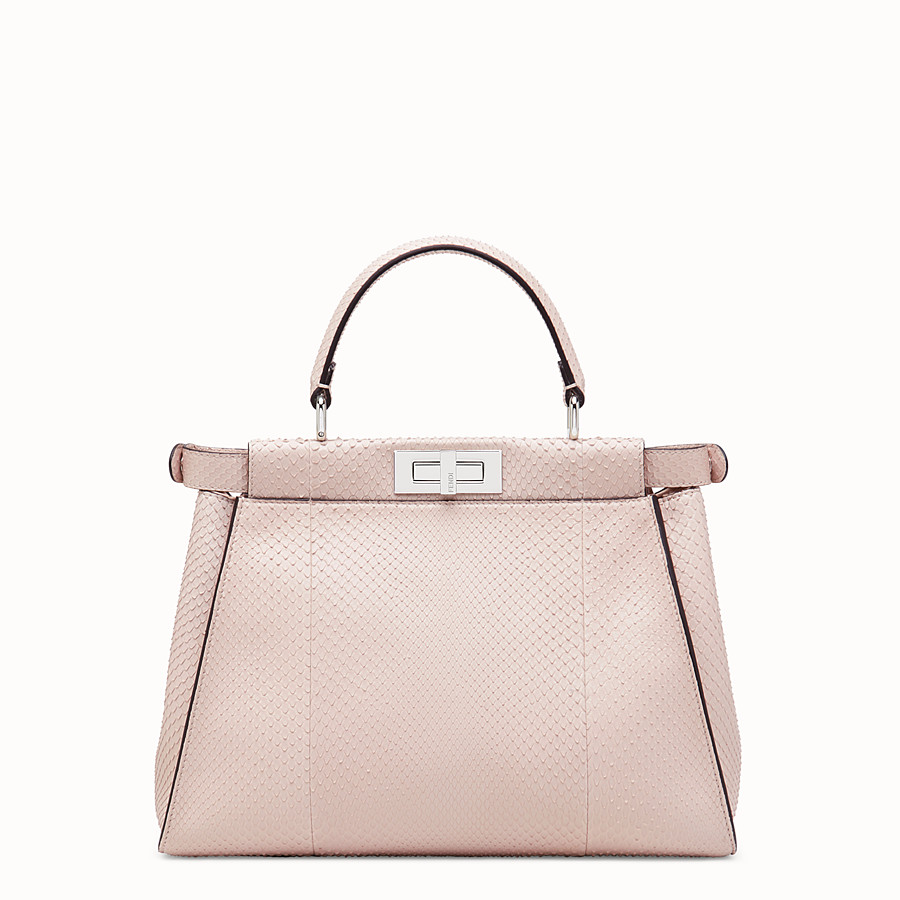 FENDI PEEKABOO REGULAR - Pink python leather bag - view 3 detail