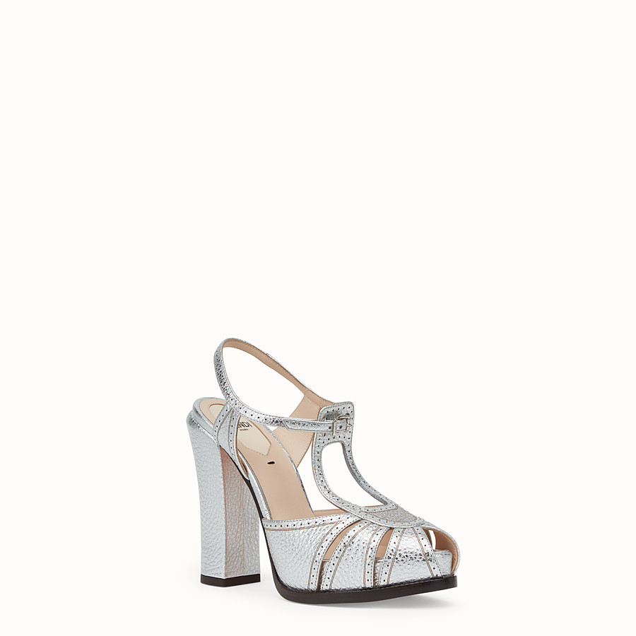 FENDI SANDALS - Silver laminated leather sandals - view 2 detail