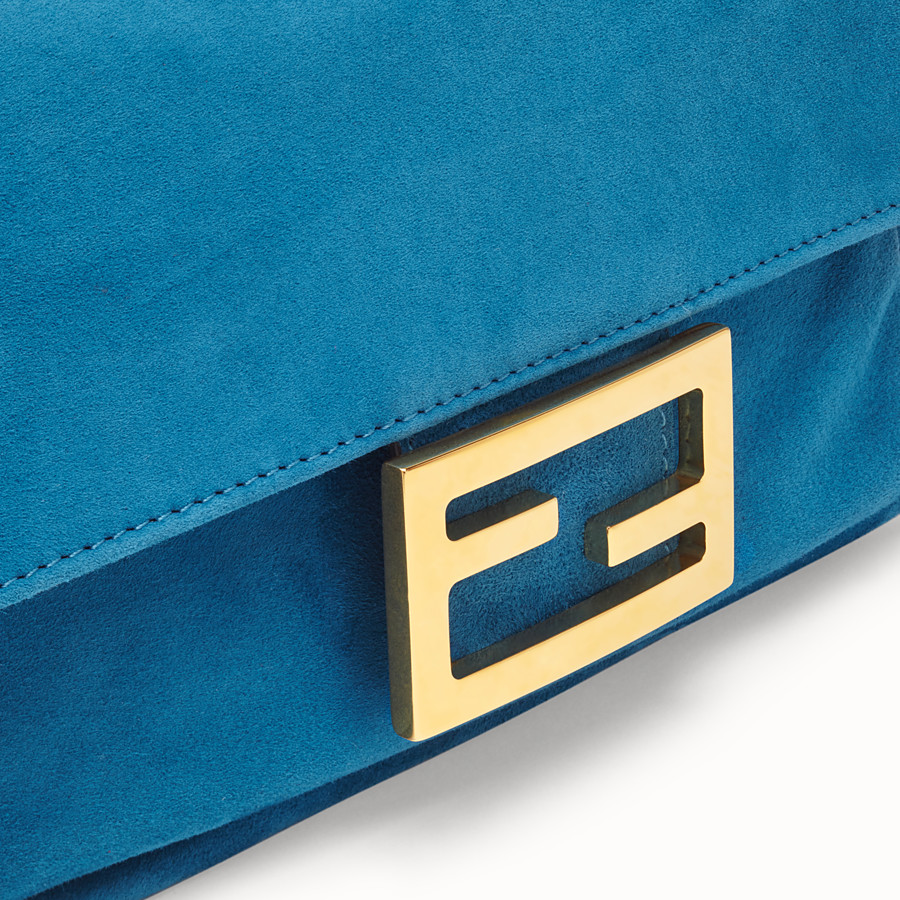 FENDI MINI BAGUETTE - Blue suede bag - view 5 detail