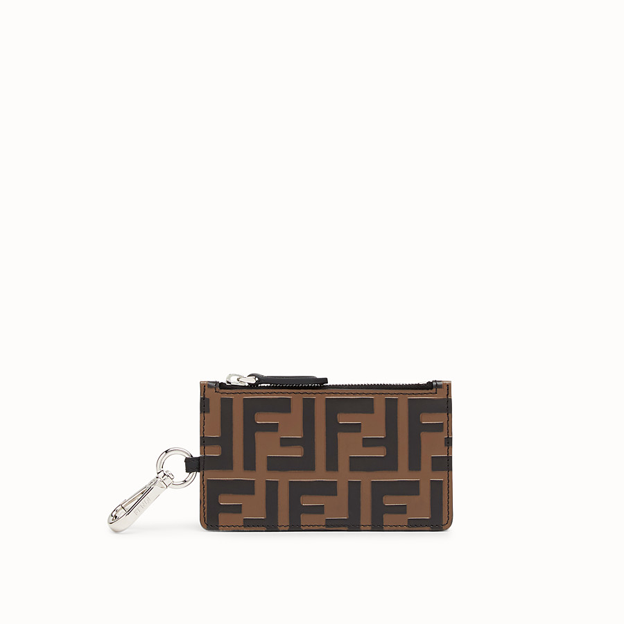 FENDI KEY RING - Brown leather card holder - view 1 detail