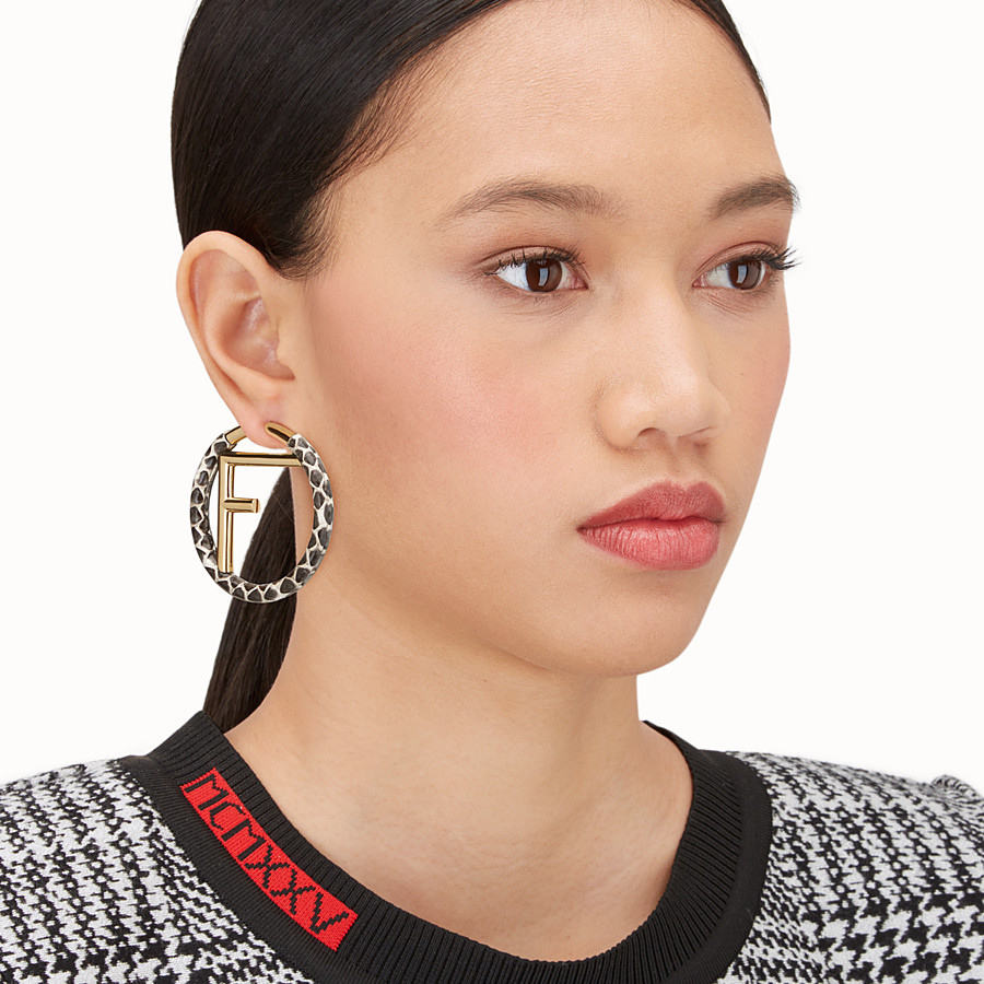 FENDI F IS FENDI EARRINGS - White elaphe earrings - view 2 detail