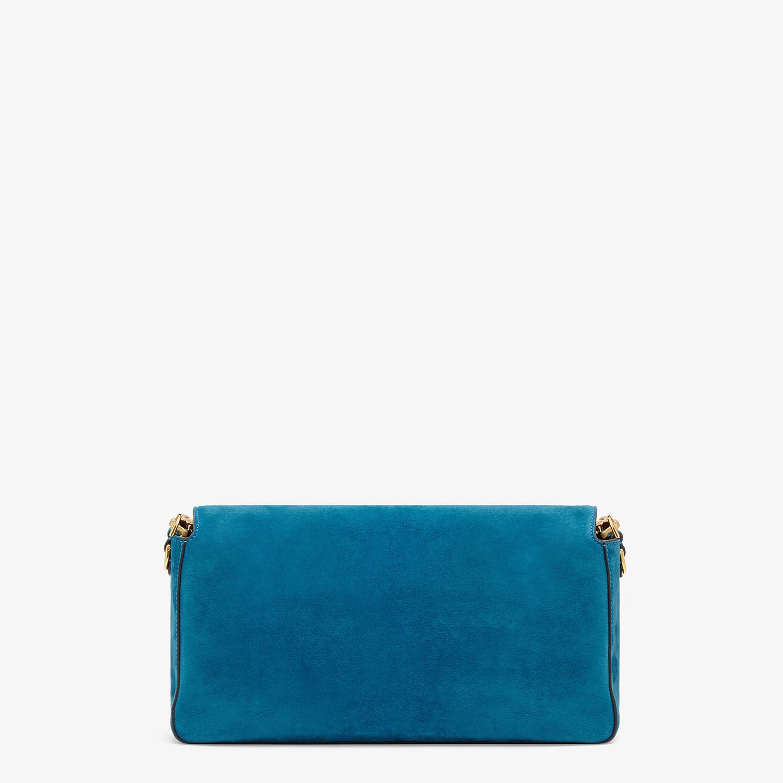 FENDI BAGUETTE LARGE - Light blue suede bag - view 4 detail