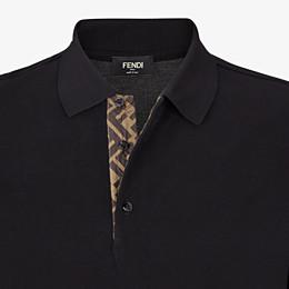 FENDI POLO SHIRT - Black piqué polo shirt - view 3 thumbnail