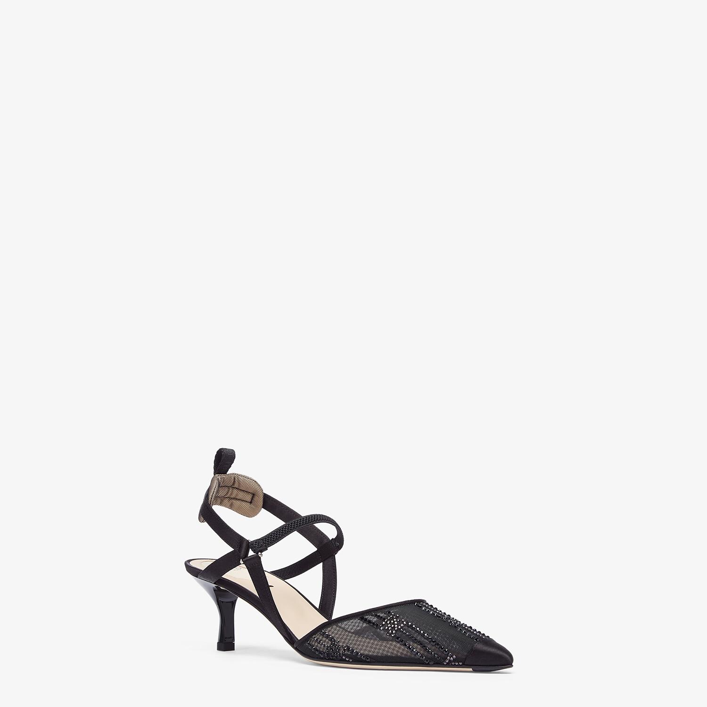 FENDI COLIBRÌ - Medium heel slingbacks in black mesh with rhinestone embroidery - view 2 detail