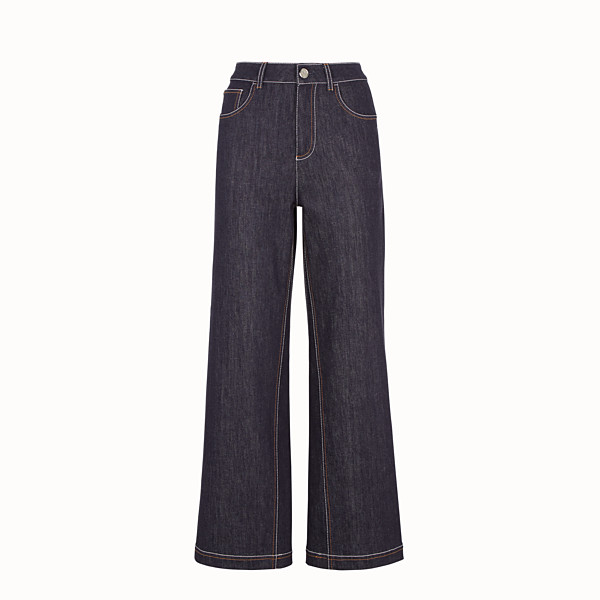 FENDI TROUSERS - Blue denim trousers - view 1 small thumbnail