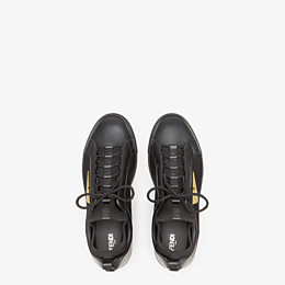 FENDI SNEAKERS - Black leather and tech fabric high-tops - view 4 thumbnail