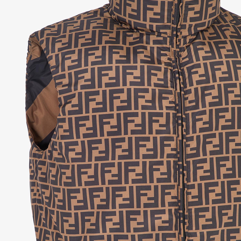 FENDI GILET - Brown nylon gilet - view 3 detail