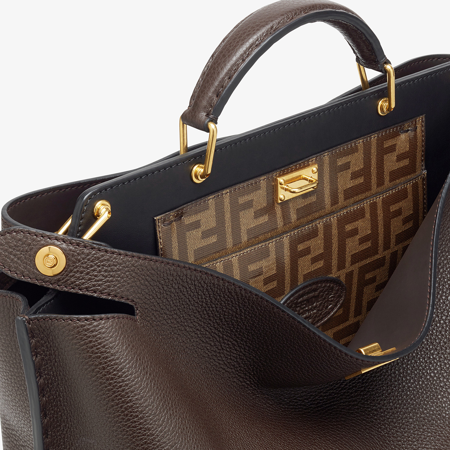 FENDI PEEKABOO ICONIC ESSENTIAL - Brown leather bag - view 5 detail