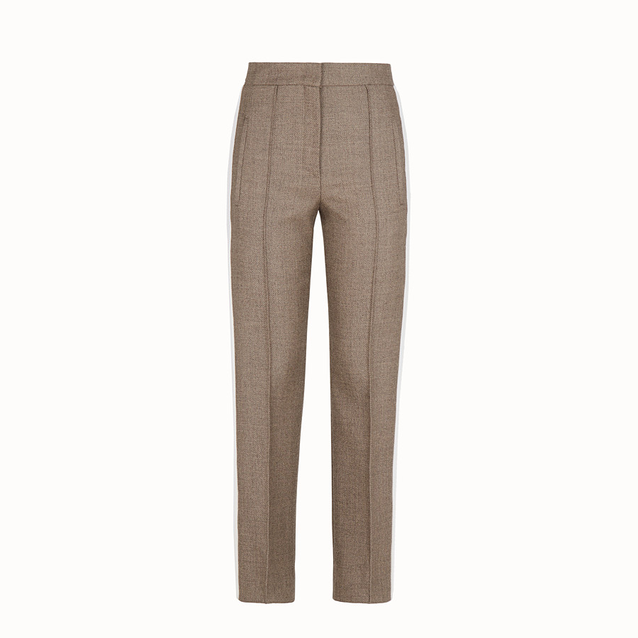 FENDI TROUSERS - Grisaille wool trousers - view 1 detail