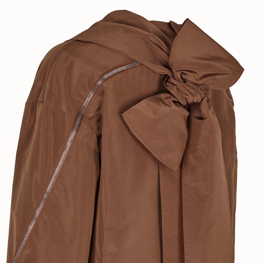 FENDI OVERCOAT - Brown faille trench coat - view 3 detail