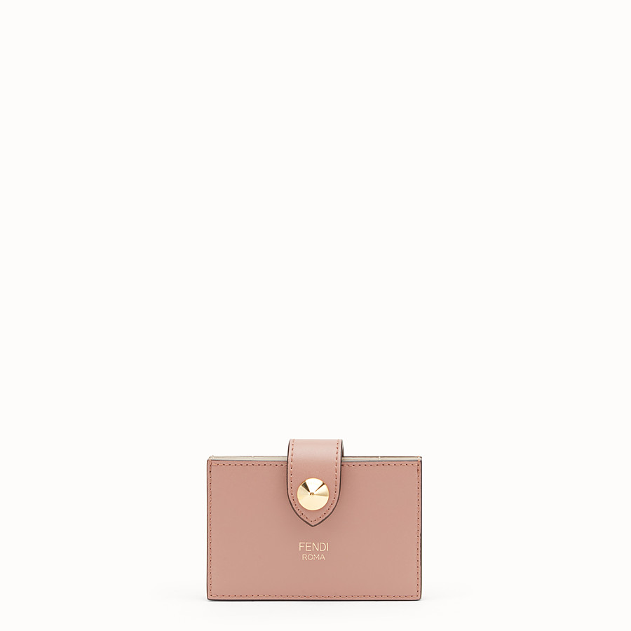 FENDI CARD HOLDER - Pink leather gusseted card holder - view 1 detail