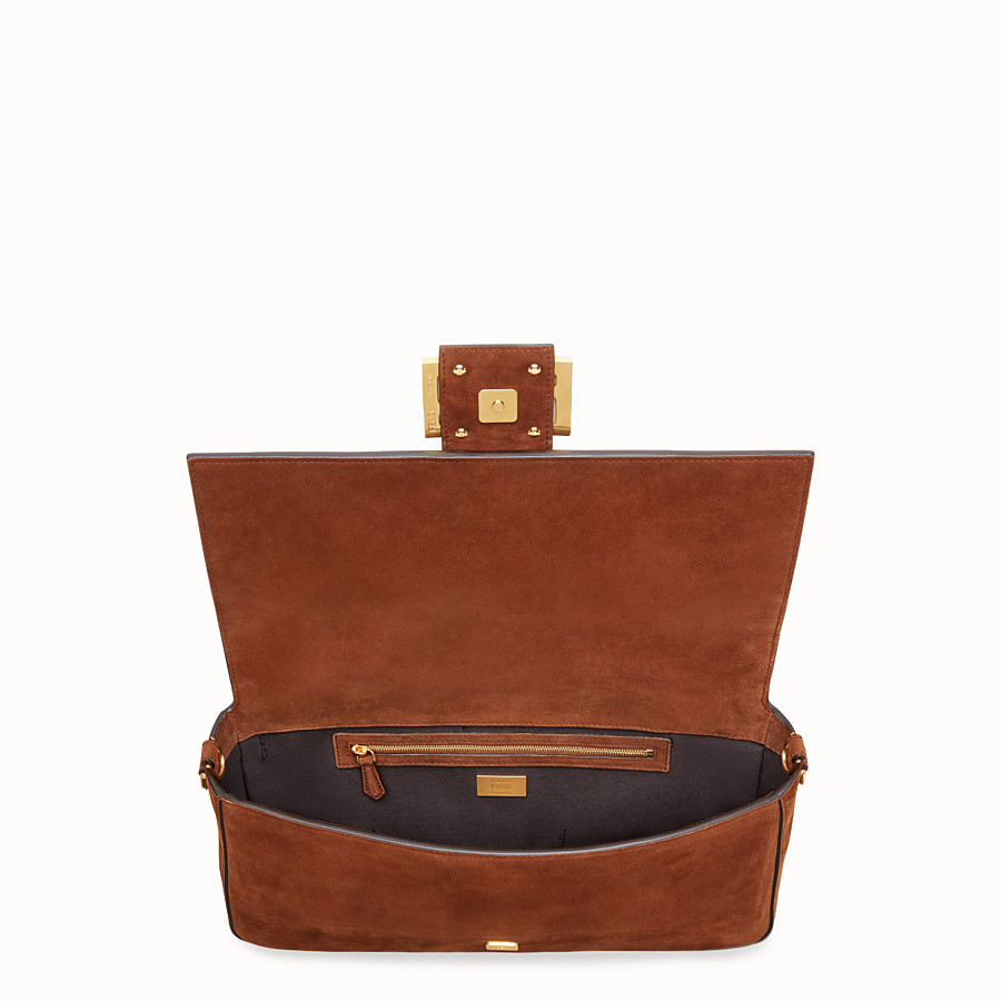 FENDI BAGUETTE LARGE - Brown suede bag - view 5 detail