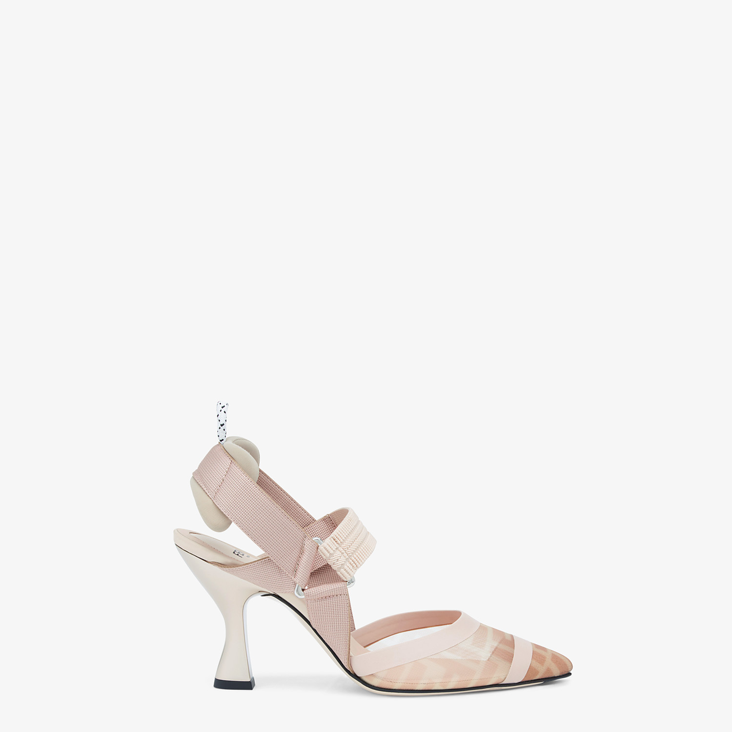 FENDI SLINGBACKS - Colibrì in pink mesh and nude leather - view 1 detail