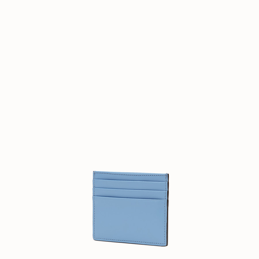 FENDI CARD HOLDER - Flat light blue leather card holder - view 2 detail
