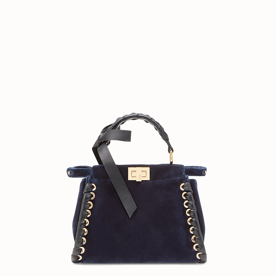FENDI PEEKABOO MINI - Sac en velours bleu - view 1 detail