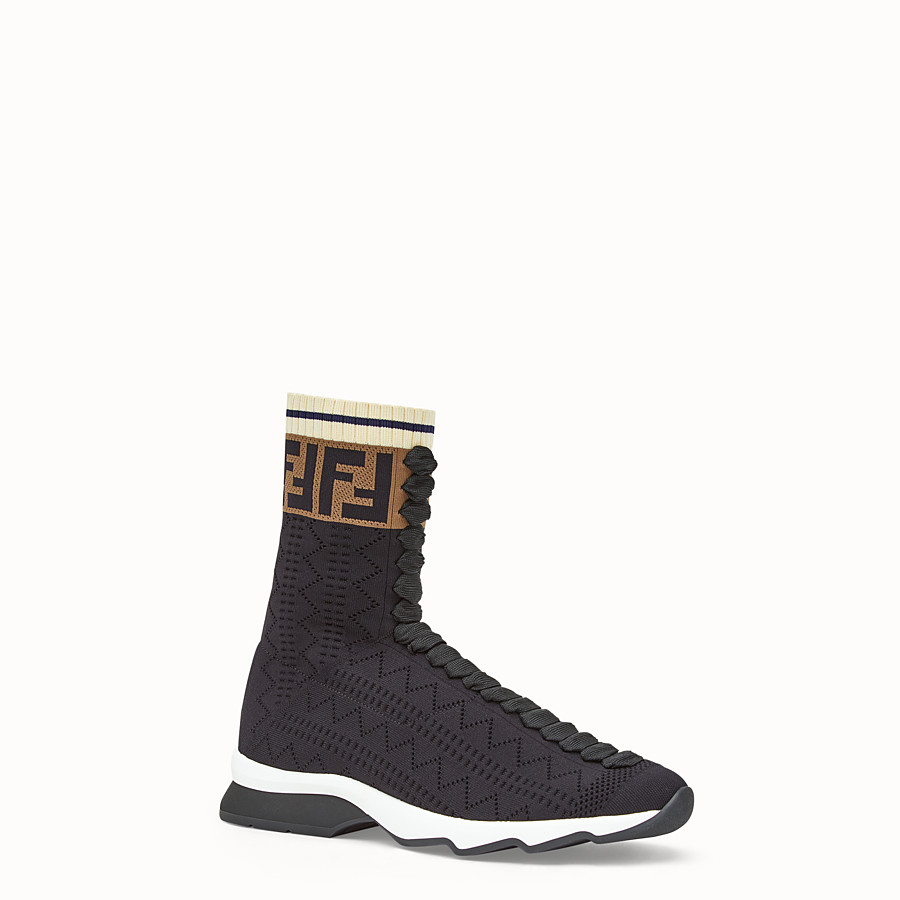 FENDI SNEAKERS - Black fabric sneaker boots - view 2 detail