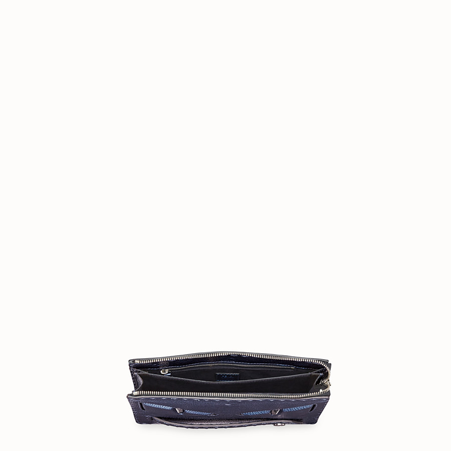 FENDI CLUTCH - Blue leather pochette - view 4 detail